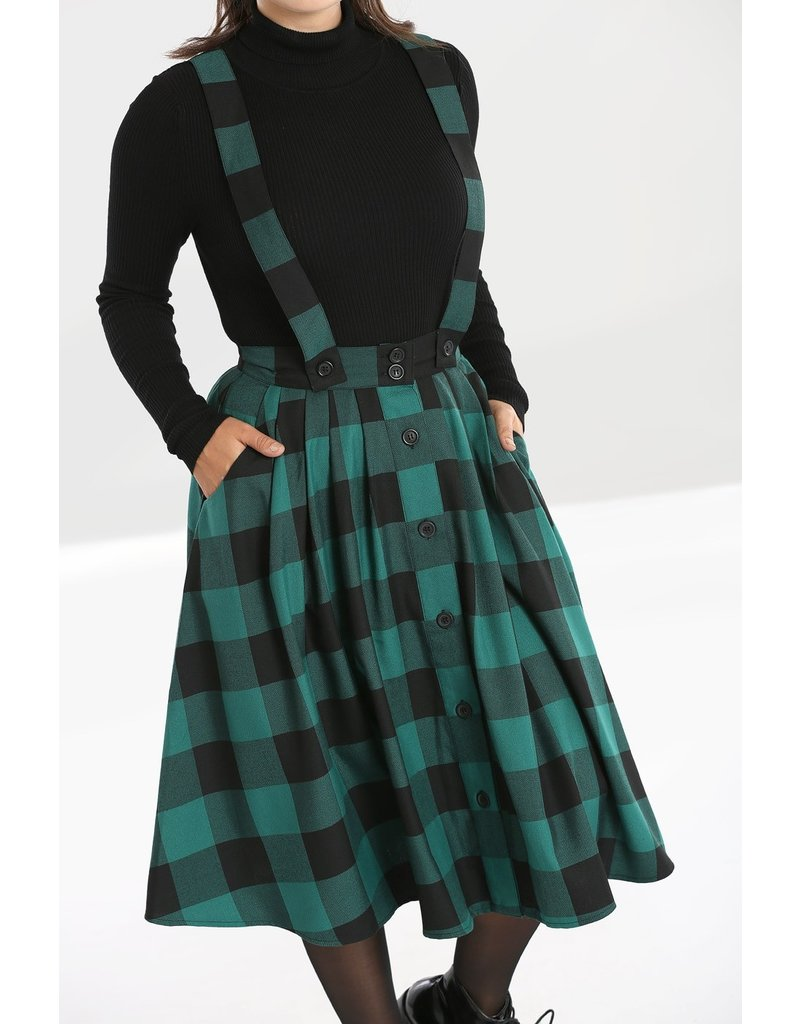 Hell Bunny PRE ORDER Hell Bunny Teen Spirit Pinafore Skirt Green