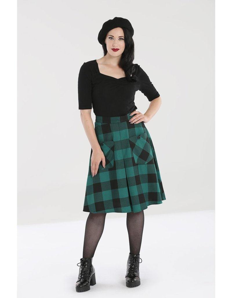Hell Bunny PRE ORDER Hell Bunny Teen Spirit Midi Skirt Green