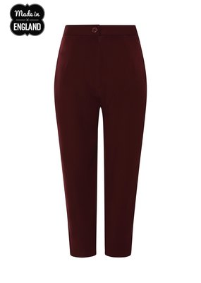 Hell Bunny PRE ORDER Hell Bunny Carlie Cigarette Pants Burgundy