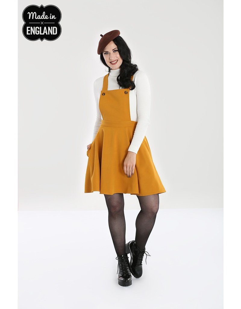 Hell Bunny SPECIAL ORDER Hell Bunny Amelie Pinafore Dress Mustard