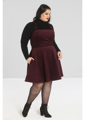 Hell Bunny SPECIAL ORDER Hell Bunny Wonder Years Pinafore Dress Wine