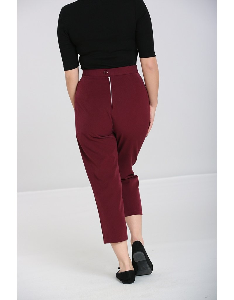 Hell Bunny SPECIAL ORDER Hell Bunny Carlie Cigarette Pants Burgundy