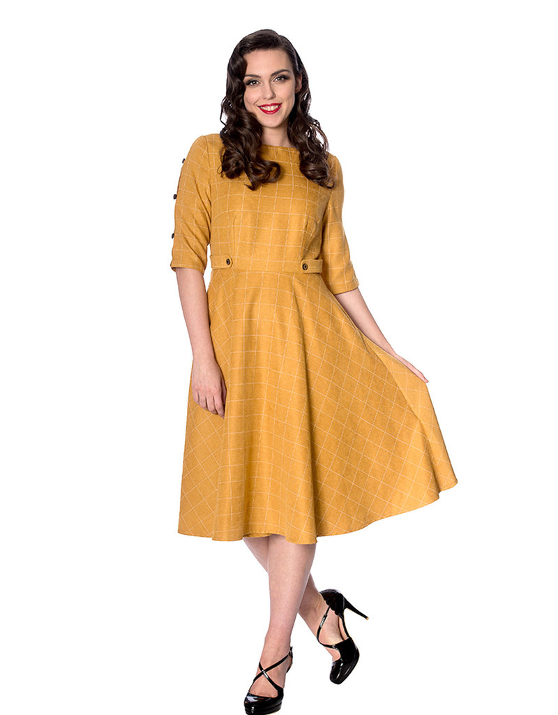 Banned SPECIAL ORDER Dancing Days Cheeky Check Dress Mustard