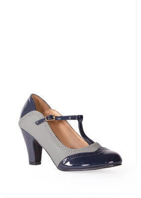 Banned SPECIAL ORDER Dancing Days Diva Blues T-Strap Pump Grey
