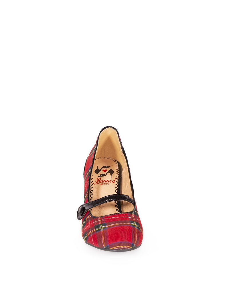 Banned SPECIAL ORDER Dancing Days Gene Pumps Tartan Red