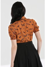 Hell Bunny SPECIAL ORDER Hell Bunny Vixey Foxy Blouse Brown