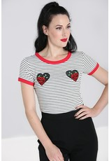Hell Bunny SPECIAL ORDER Hell Bunny Rose Heart Top White