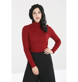 Hell Bunny SPECIAL ORDER Hell Bunny Spiros Knitted Top Burgundy