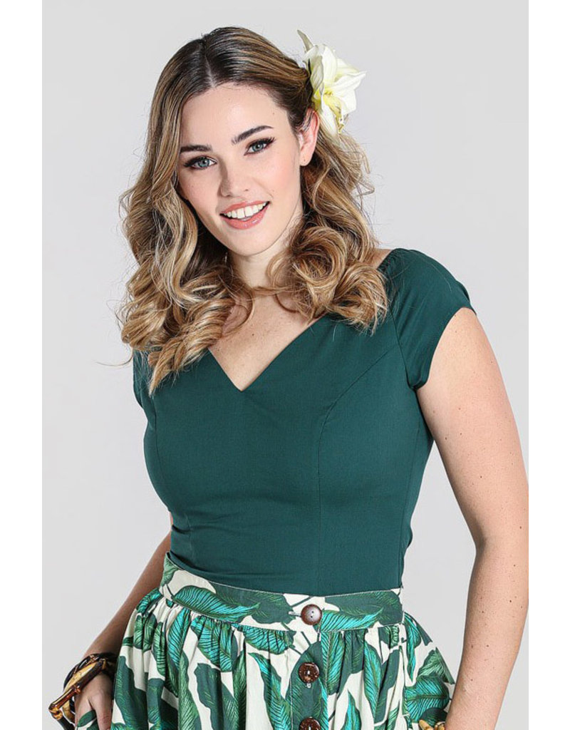 Hell Bunny SPECIAL ORDER Hell Bunny Petunia Top Forest Green