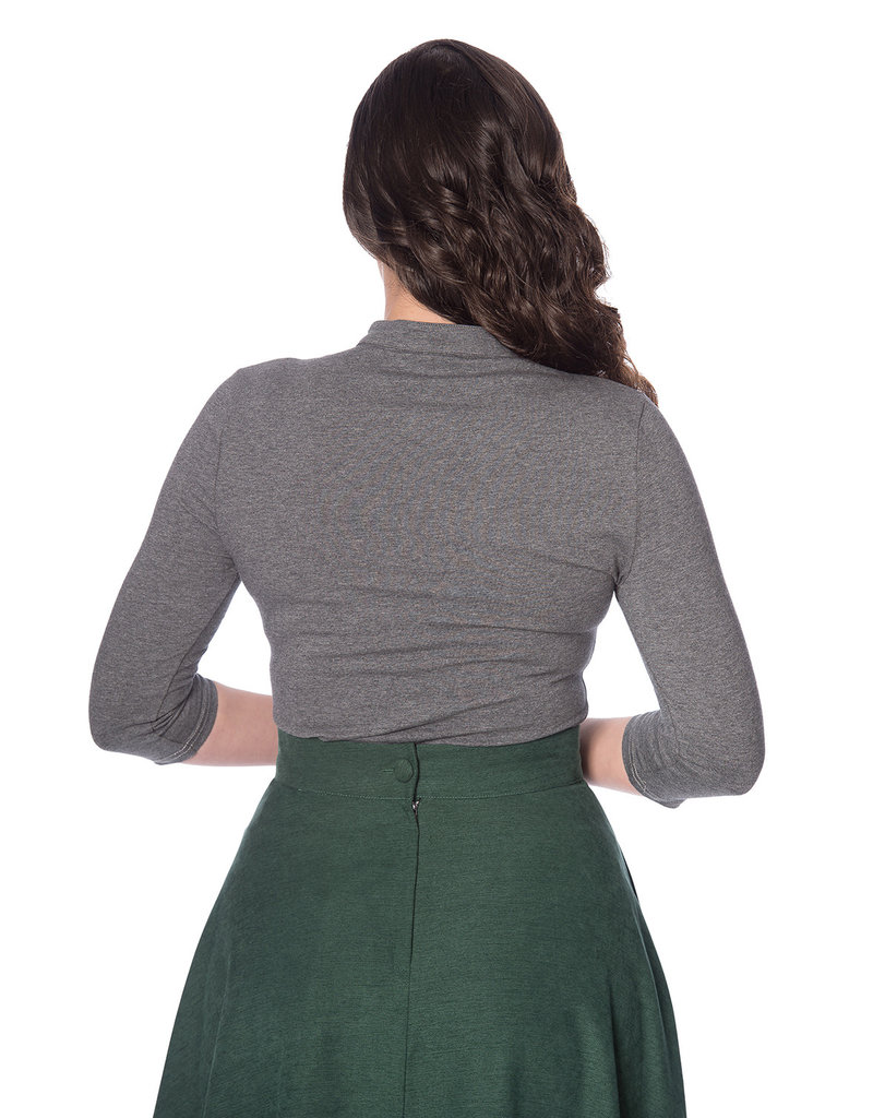 Banned SPECIAL ORDER Dancing Days Mandarin Top Long Sleeve Grey