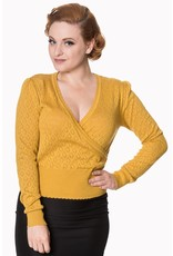 Banned SPECIAL ORDER Dancing Days Basic Instict Wrap Top Mustard
