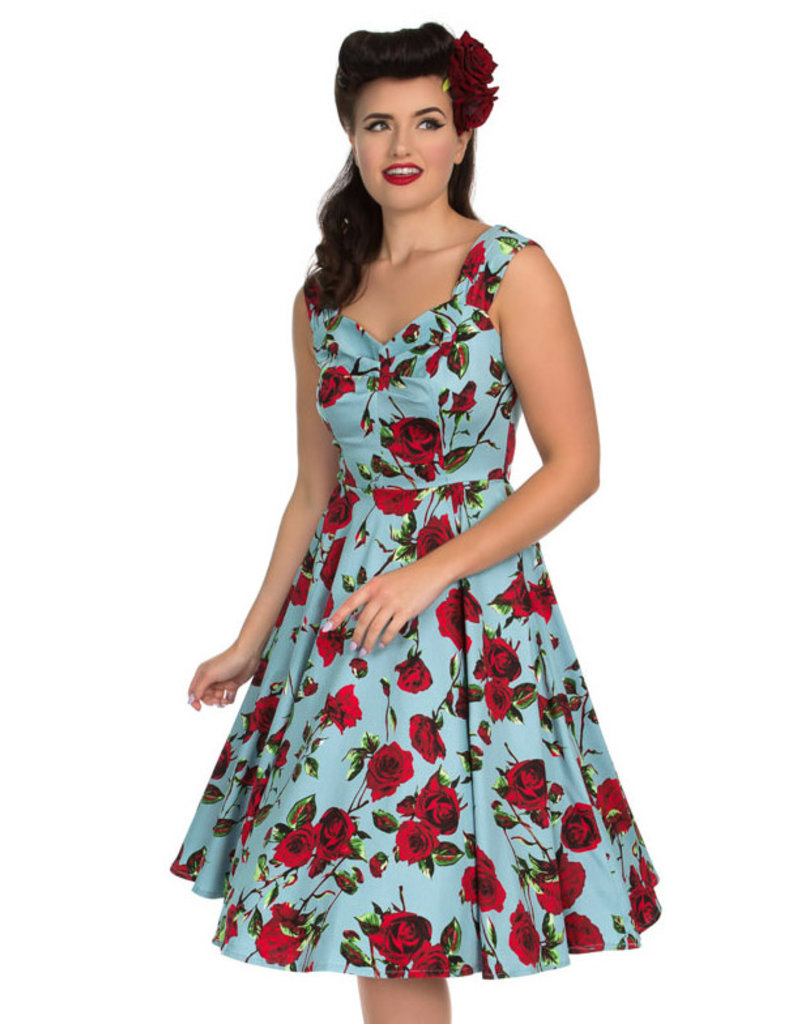 Hearts and Roses SPECIAL ORDER Hearts & Roses Ditsy Rose Dress Blue