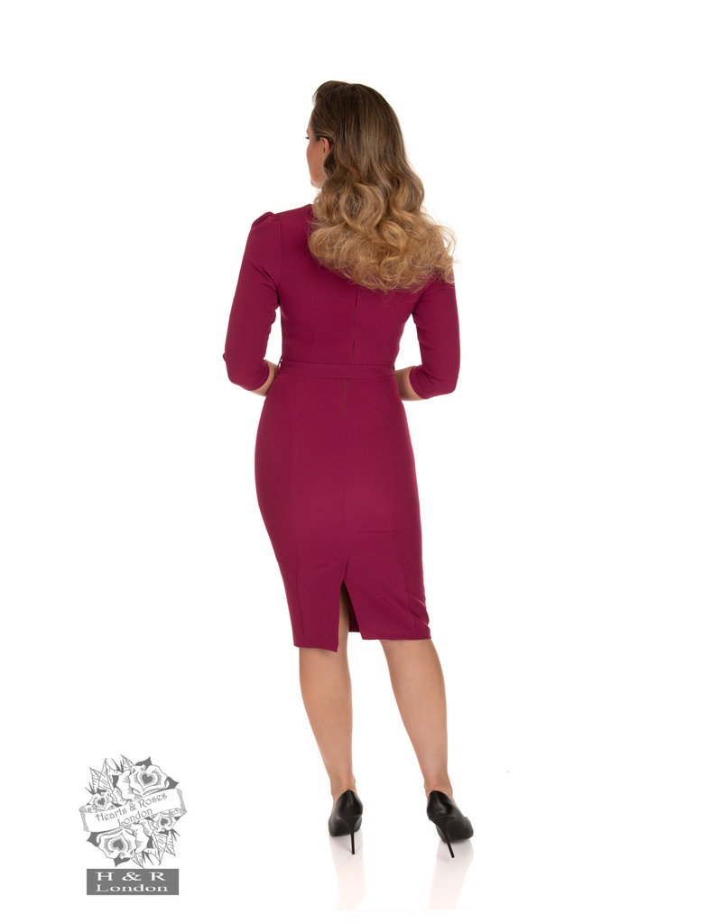 Hearts and Roses SPECIAL ORDER Hearts & Roses Pretty Plum 50s Wiggle Dress