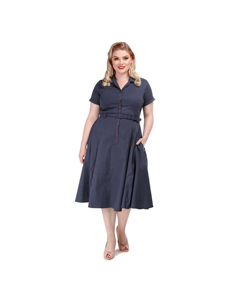 Collectif SPECIAL ORDER Collectif Caterina Mini Polkadot Dress Navy