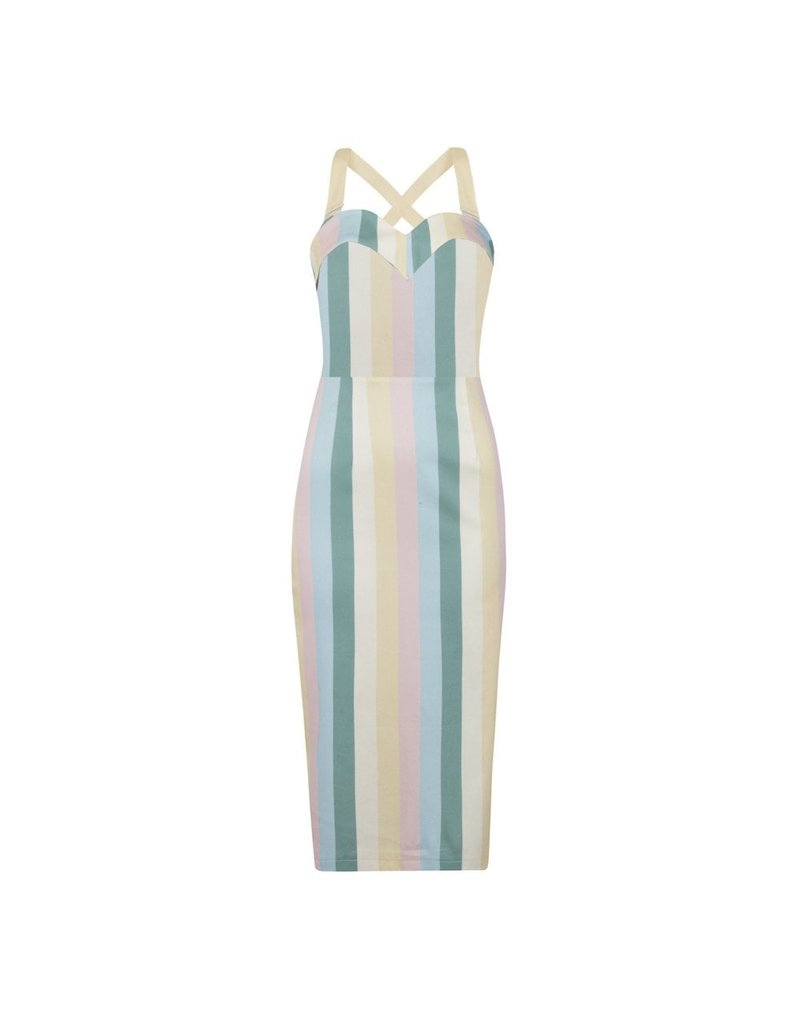 Collectif SPECIAL ORDER Collectif Kiana Teacup Stripe Pencil Dress