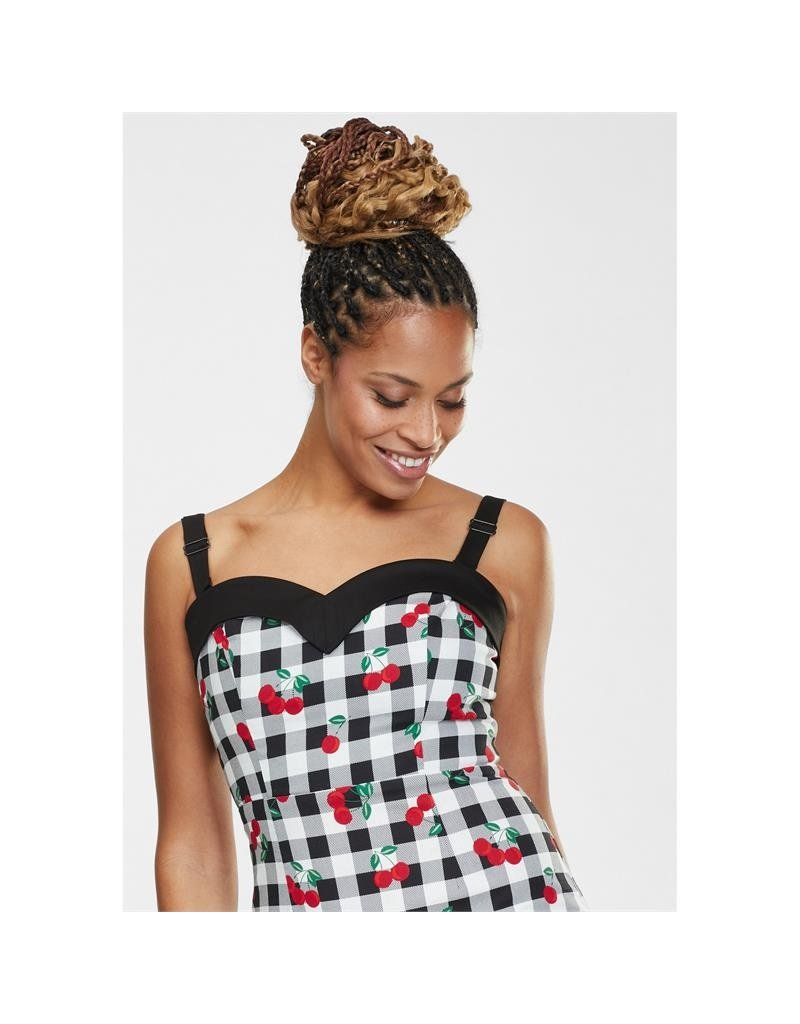 Collectif SPECIAL ORDER Collectif Kiana Gingham Cherries Pencil Dress