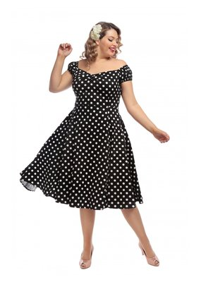 Collectif SPECIAL ORDER Collectif Dolores Polkadot Swing Dress Black