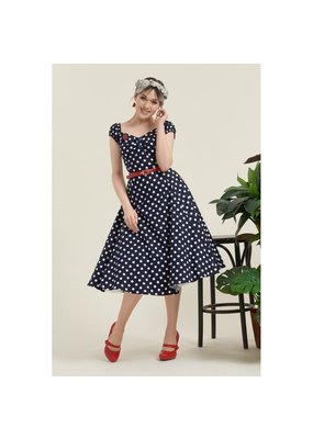 Collectif SPECIAL ORDER Collectif Dolores Polkadot Swing Dress Navy