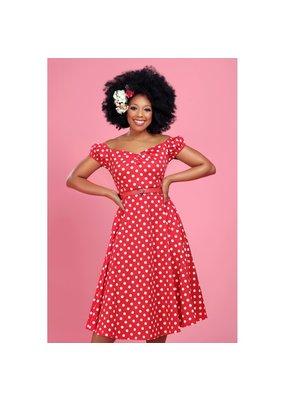 Collectif SPECIAL ORDER Collectif Dolores Polkadot Swing Dress Red
