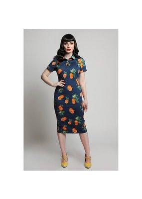 Collectif SPECIAL ORDER Collectif Mirtilla Oranges Pencil Dress