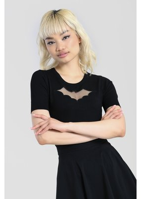 Hell Bunny SPECIAL ORDER Hell Bunny Knitted Bat Top Black