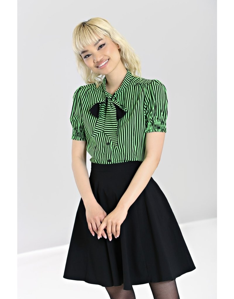 Hell Bunny Hell Bunny Striped Humbug Blouse Green
