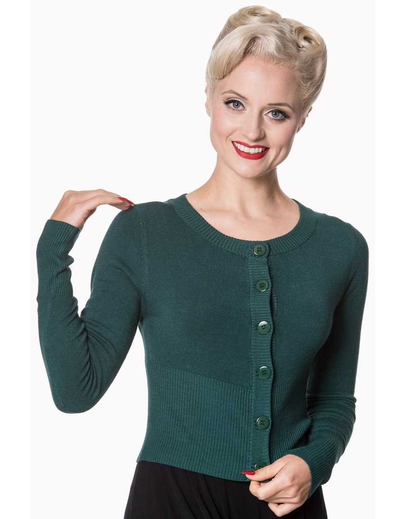 Hell Bunny Dancing Days Dolly Cardigan Forest Green