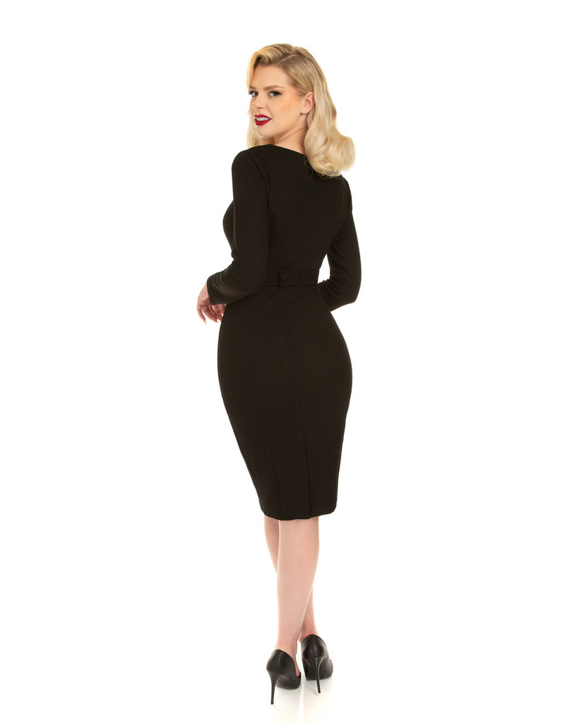 Hearts and Roses Hearts & Roses Cassia Black Wiggle Dress