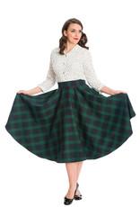 Hell Bunny Dancing Days Sweet Check Swing Skirt Green