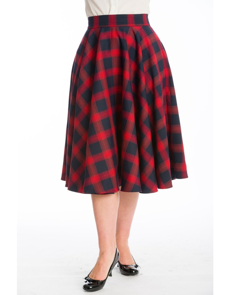 Hell Bunny Dancing Days Sweet Check Swing Skirt Red