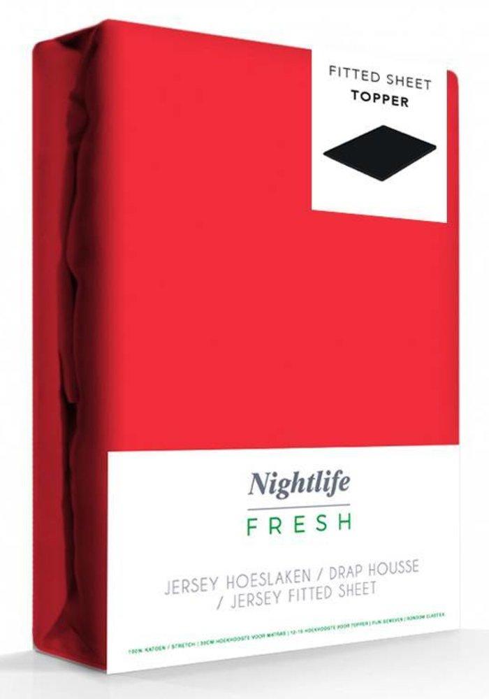 Hoeslaken Jersey Topper Rood 15 cm Hoekhoogte
