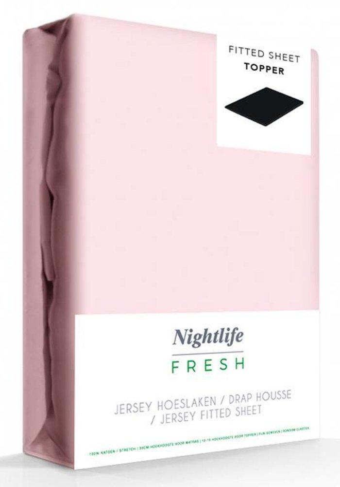 Hoeslaken Jersey Topper Roze 15 cm Hoekhoogte
