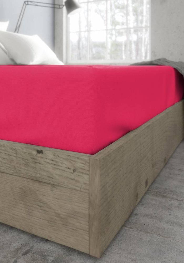 Fitted Sheet Jersey Mattress Hot Pink 35 cm Corner Drop
