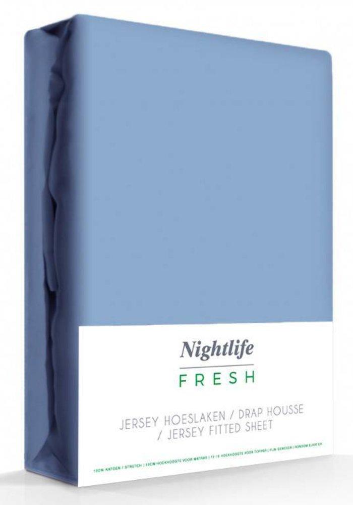 Hoeslaken Jersey Matras Blauw 35 cm Hoekhoogte