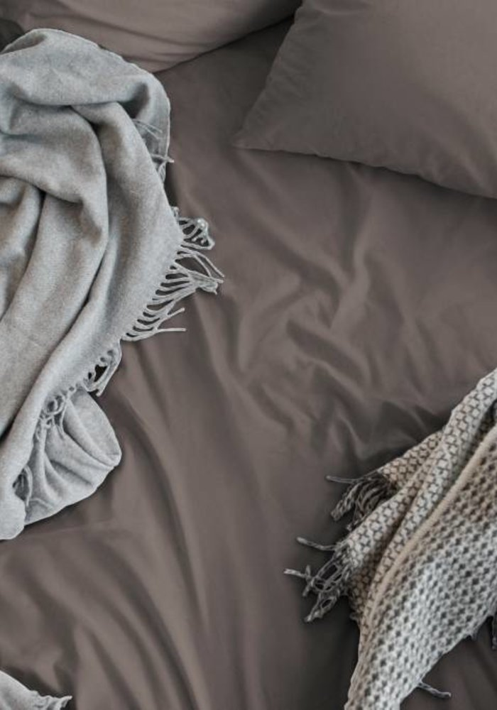 Fitted Sheet Cotton Satin Taupe 30 cm Corner Drop