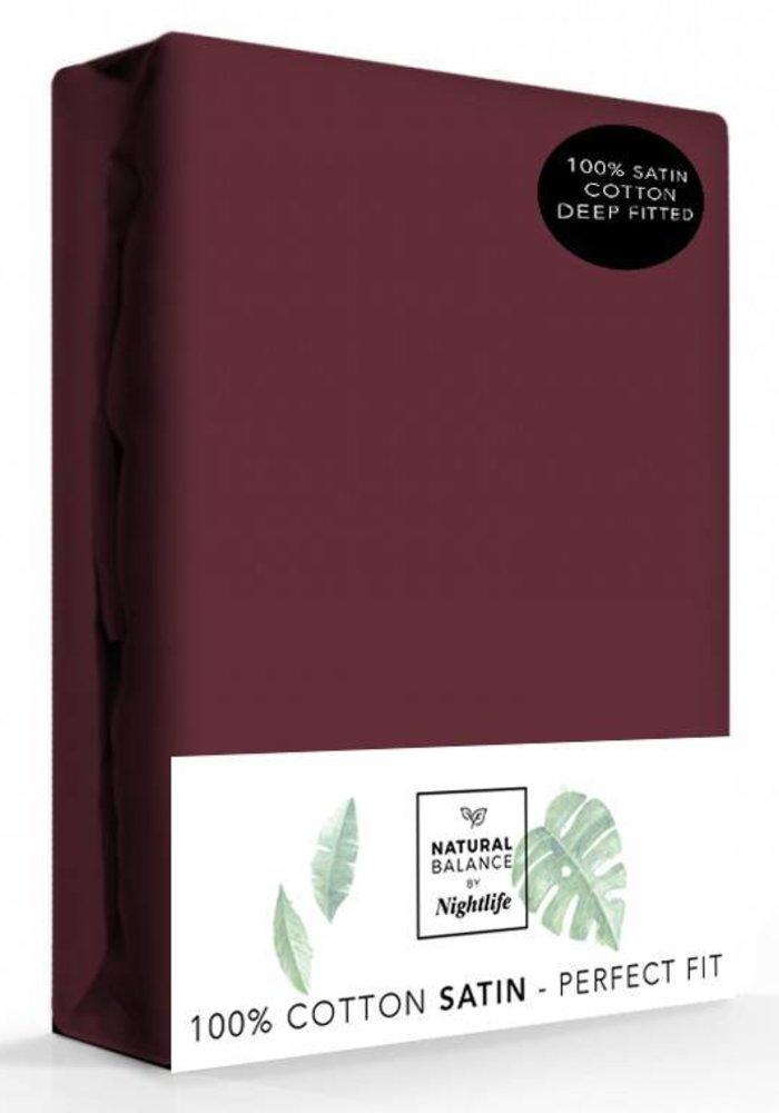 Fitted Sheet Cotton Satin Bordeaux 30 cm Corner Drop