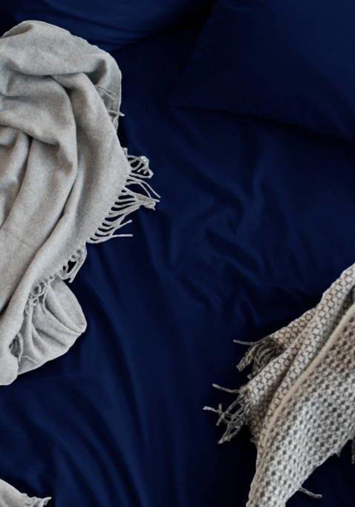 Fitted Sheet Cotton Satin Blue 30 cm Corner Drop