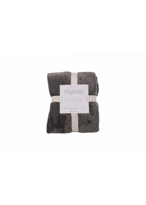 Pl Plain Dyed Flanel Blanket Antra