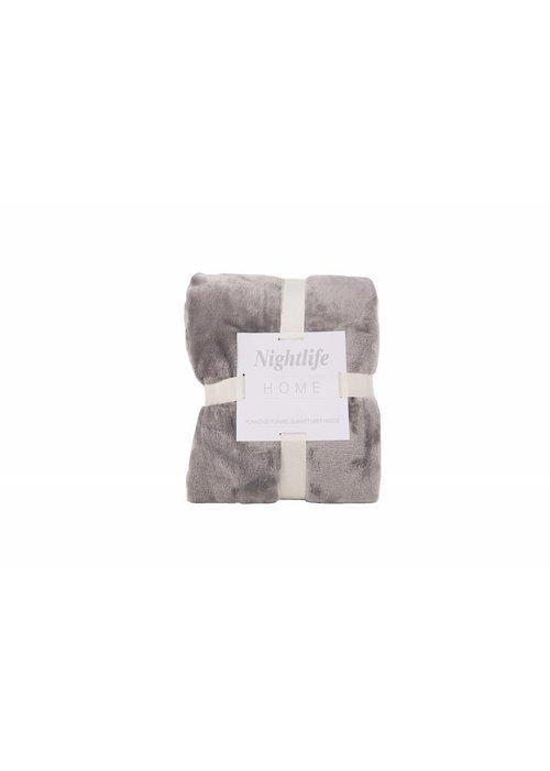 Pl Plain Dyed Flanel Blanket Grijs