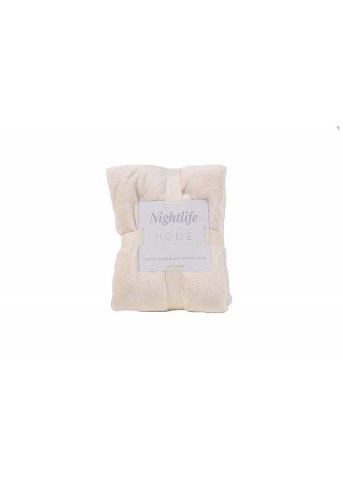 Pl Plain Dyed Flanel Blanket Ecru
