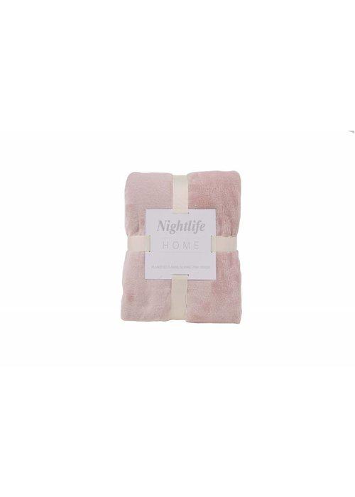 Pl Plain Dyed Flanel Blanket Roze