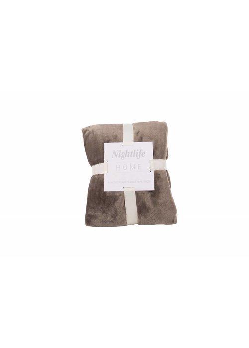 Pl Plain Dyed Flanel Blanket Taupe