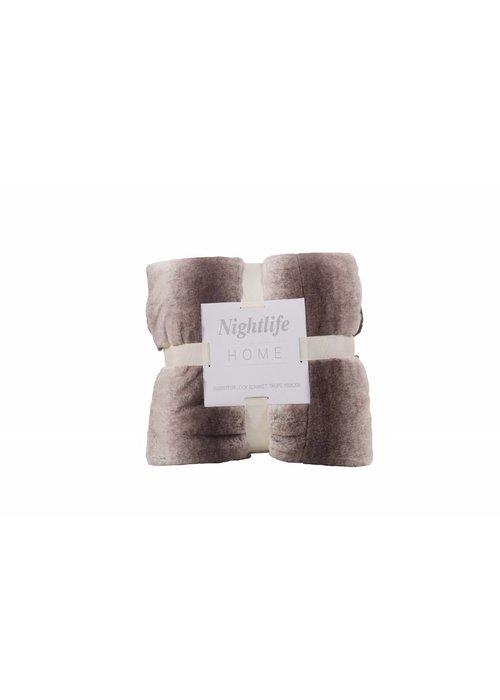 Pl Faux Fur Blanket Taupe