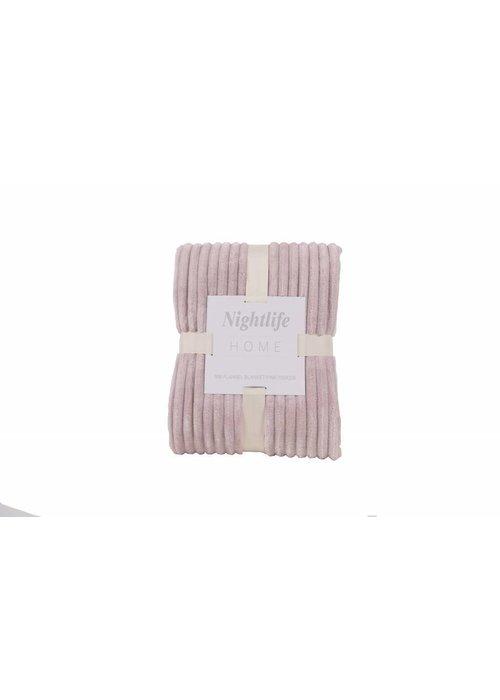 Pl Rib Flanel Blanket Roze