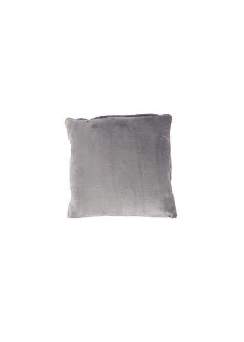 Pl Plain Dyed Flanel Cushion Cover Grijs
