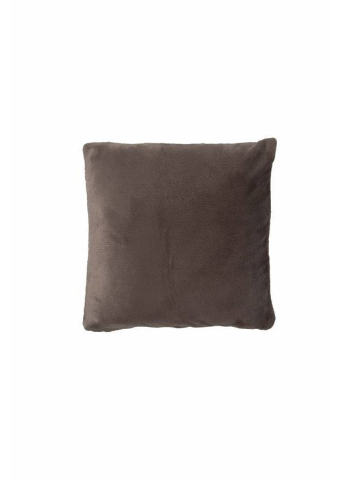 Pl Plain Dyed Flanel Cushion Cover Taupe