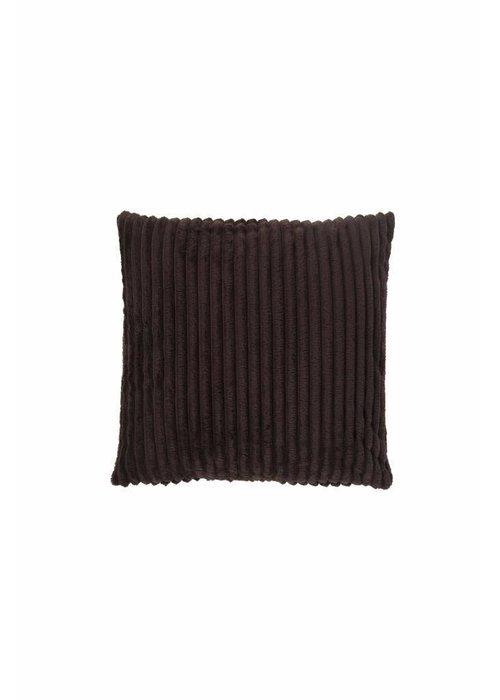 Pl Rib Flanel Cushion Cover Donker Bruin