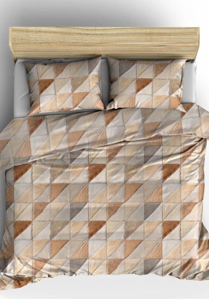 Duvet Cover Fur Mozaik Taupe Flanel
