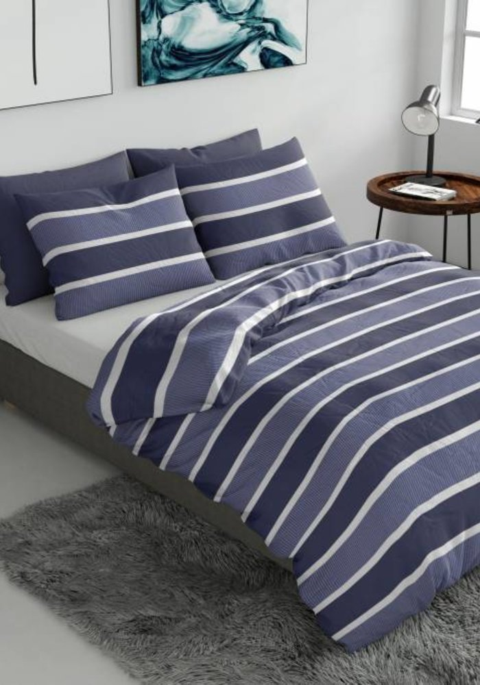 Dekbedovertrek Classic Stripe Blauw Flanel