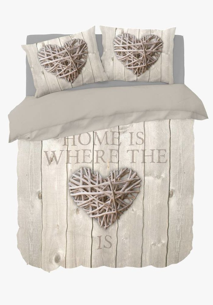 Dekbedovertrek Home Is Wood Taupe